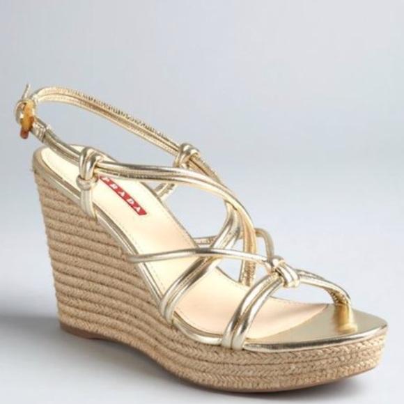 859b8c96ef4 Prada Sport Metallic Espadrille Strappy Sandals. M 5b3f7cb3aaa5b8a0f8fd3fad